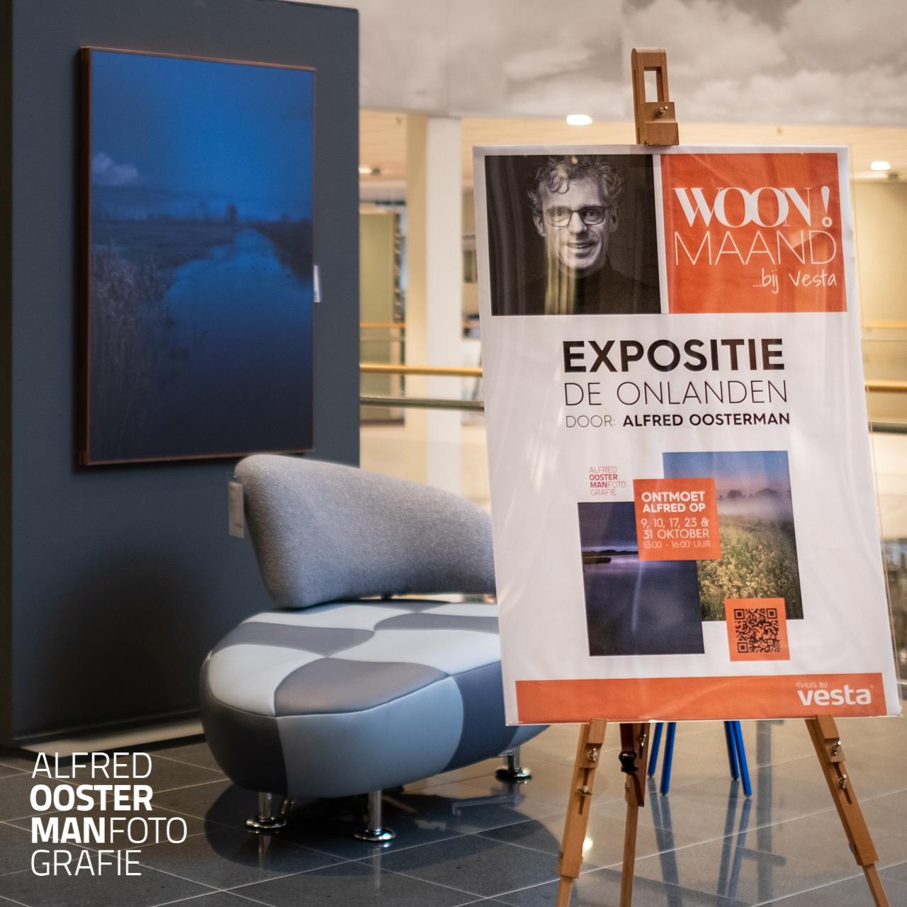 Gedurende de maand oktober is er bij Vesta Woonforum een expositie te zien met fotografie van Alfred Oosterman. In de expositie zijn beelden te zien uit de serie 'de Onlanden'. Alfred Oosterman heeft in de vroege ochtend beeld gemaakt waarin hij zijn eigen visie op dit bijzonder natuurgebied laat zien. De expositie duurt tot en met 31 oktober 2021