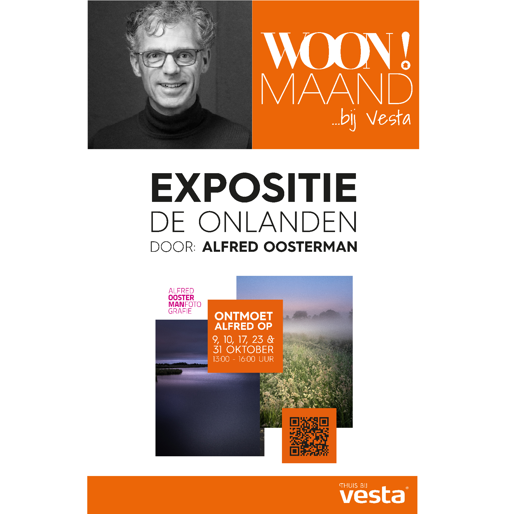 Tijdens de woonmaand bij Vesta in Groningen is de expositie 'de Onlanden' door Alfred Oosterman te zien.